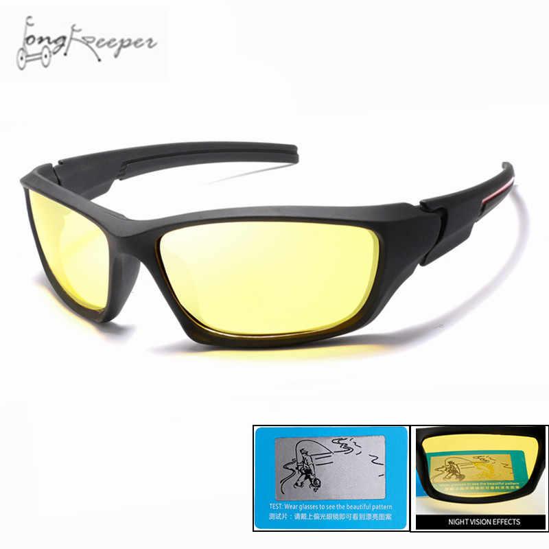 Longo Goleiro 2018 Mens Preto Polarized Night Vision Óculos De Sol UV400  Óculos de Dirigir À f929f34ebe