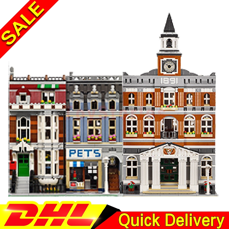 Lepin 15003 town hall + Lepin 15009 Pet Shop Supermarket City Street Model Building Blocks Bricks lgoings Toys Clone 10224 10218 new lepin 15003 2859pcs the topwn hall model building blocks kid toys kits compatible with 10224 educational children day gift