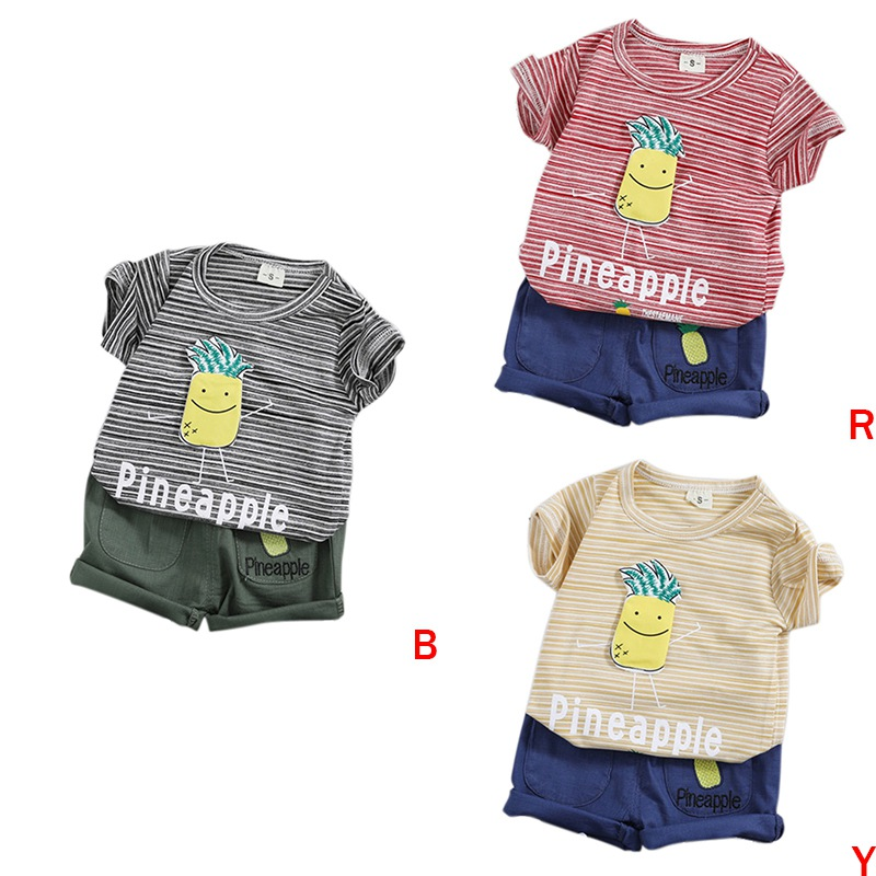 2PCS 1-4T Summer New Fashion Boy Pineapple Picture T-Shirt+Shorts Set Children Cute Casual Clothes Set Baby Boys Suits