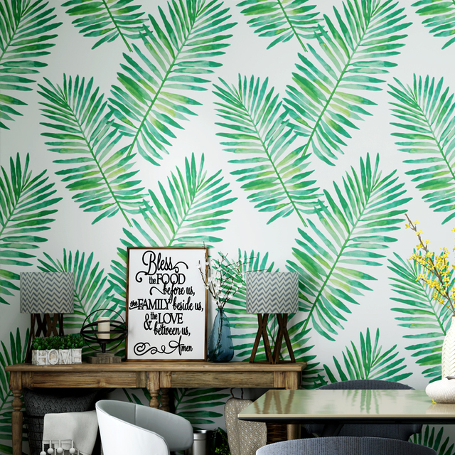 Nordic Style Paper Wallpaper Southeast Asian Tropical Rain forest Plant  Banana Leaf Living Room Bedroom TV Background Wall Paper 72b41e28f558