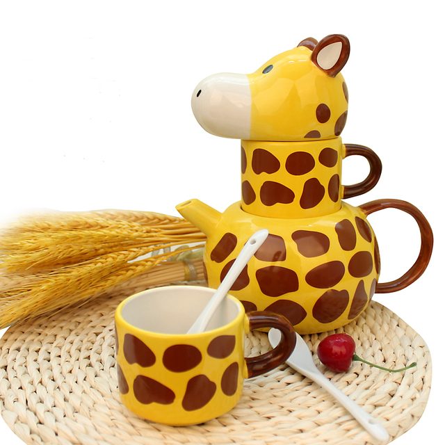 Couple Parent child Ceramic Animal Giraffe Shape Hand Painted Cup ...
