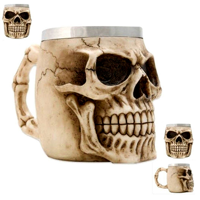 3D Realistic Skull Mugs Double Wall Stainless Steel Mug Cup Horror Big Skull Geek Coffee Beer Cup Cool Christmas Gift With Box 4