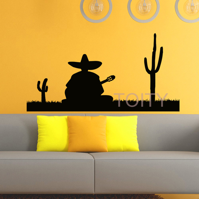 Silhouette Mexican Man Playing Guitar Wall Decal Vinyl Sticker ...
