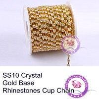 F660206 Crystal Chain 888 Rhinestone Chain CPAM FREE SS10 Crystal Clear Stone Golden Base MOQ 5roll