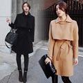 2017 Venta Caliente Corea Nueva llegada de La Moda Otoño Invierno Largo Abrigo de lana de Cuello Delgado de Manga Larga de Lana para Mujer Abrigos Envío gratis