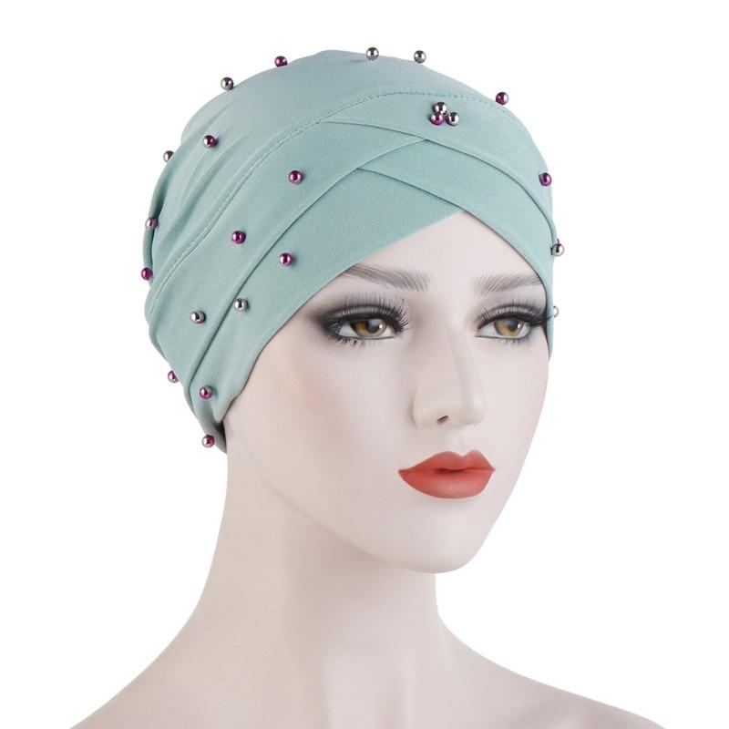 Bandans Cotton Bead Forehead Cross Turban Hat Cancer Chemo Beanies Chemotherapy Cap Headwear Hearwrap Plated Hair Accessories