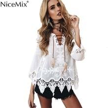 NiceMix 2019 Summer Kimono Womens Tops And BlousesElegant Lace Blusas Casual Bohemia Style Bandage Shirts blusa feminina