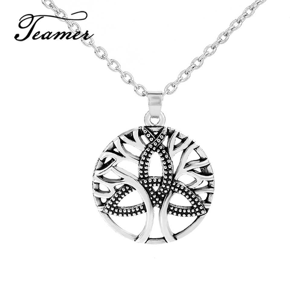 Teamer Tree of Life Necklaces For Women Silver Color Metal Irish Knot Adjustable Fashion Necklace Pendants Jewelry  link chain