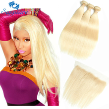 Safir Menneskehår 613 Blonde Hår 2/3 Bundler Med Lace Closure Brazilian Straight 3 Bundle Med Øre til Øre 13x4 Lace Frontal