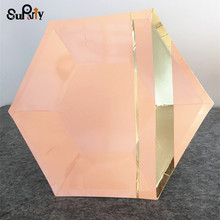 16pcs Pink Marble Foil Gold Hexagon 9inch/7inch Paper Plates for Wedding Cake Party Baby Shower Dinner Dessert Food Plates Decor(China)