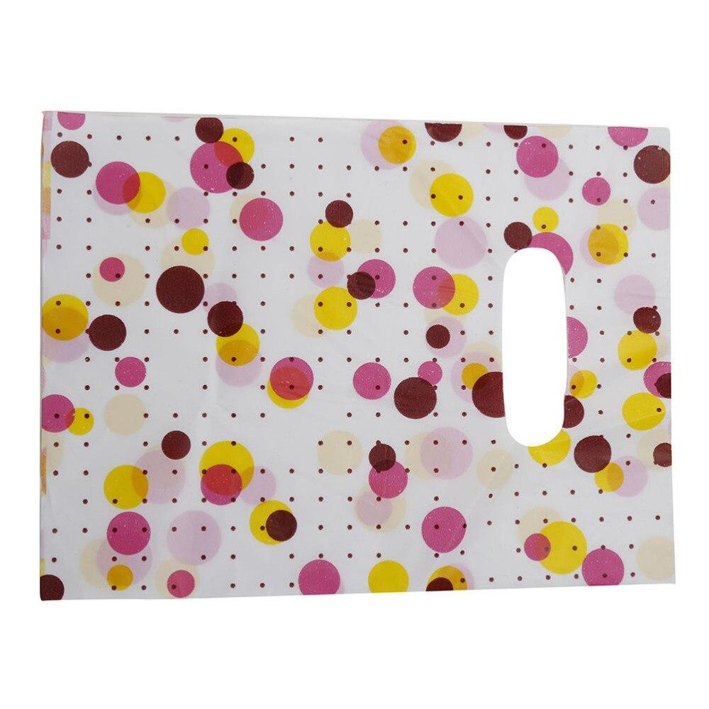 100 Pz/lotto Pattern Casuale Colorato Piccolo Regalo Borse Sacchetti Di Imballaggio Di Plastica Pacchetto Regalo Di Compleanno Con La Maniglia Shopping Bags