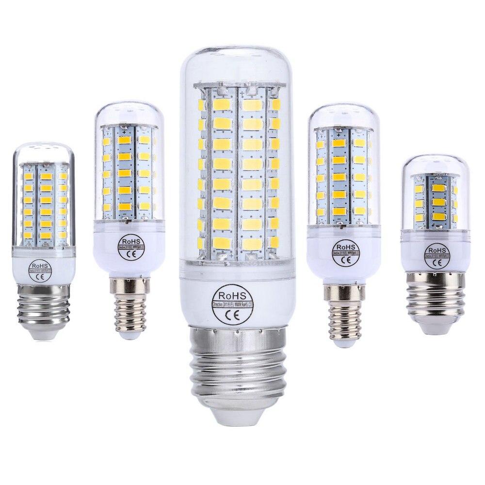 BUYBAY E27 LED Light E14 LED Bulb 220V 110V Corn Bulb 24 48 56 72LEDs SMD5730 Chandelier Candle Light LED Lamp For Home Decor 2pcs real full watt 3w 5w 7w 8w 12w 15w e27 e14 led corn bulb 85v 265v smd 5736 led lamp spot light 28 40 72 108 132 156 leds