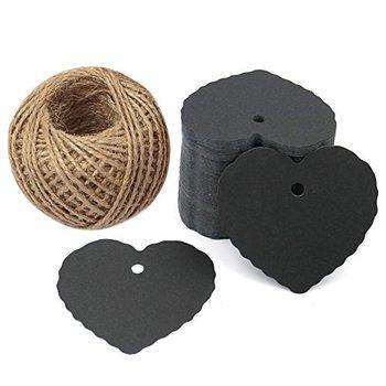 Dzień ojca czarny papierowe etykiety do prezentów w kształcie serca proces etykiety na wesele 100 sztuk z papieru kraft etykiety 100 stóp natu tanie i dobre opinie Serce