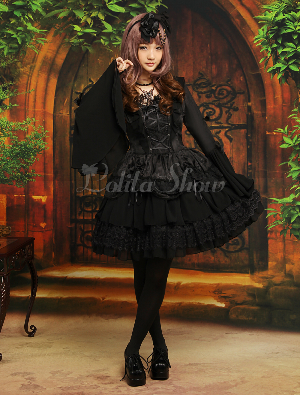Free Shipping Gothic Black Chiffon Jacquard Cute Lolita One-Piece Cosplay Costume