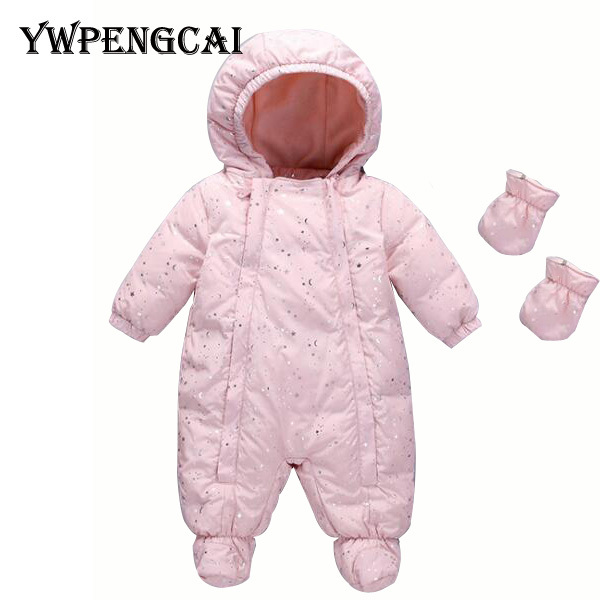 84d99118f 0 2 Years Baby Winter Clothes Thick Warm Baby Jumpsuit With Gloves ...
