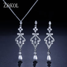 ZAKOL Trendy Sliver Color Jewelry Set Imitation Pearl Water Drop Charms Ladies Jewelry For Party FSSP265(China)