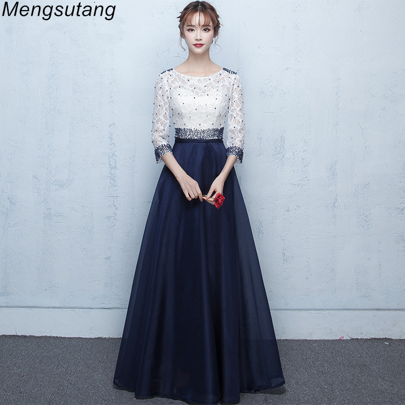 Robe de soiree Navy blue U collar  long evening dress fashion ball gown with beading party dress vestido de festa prom dresses
