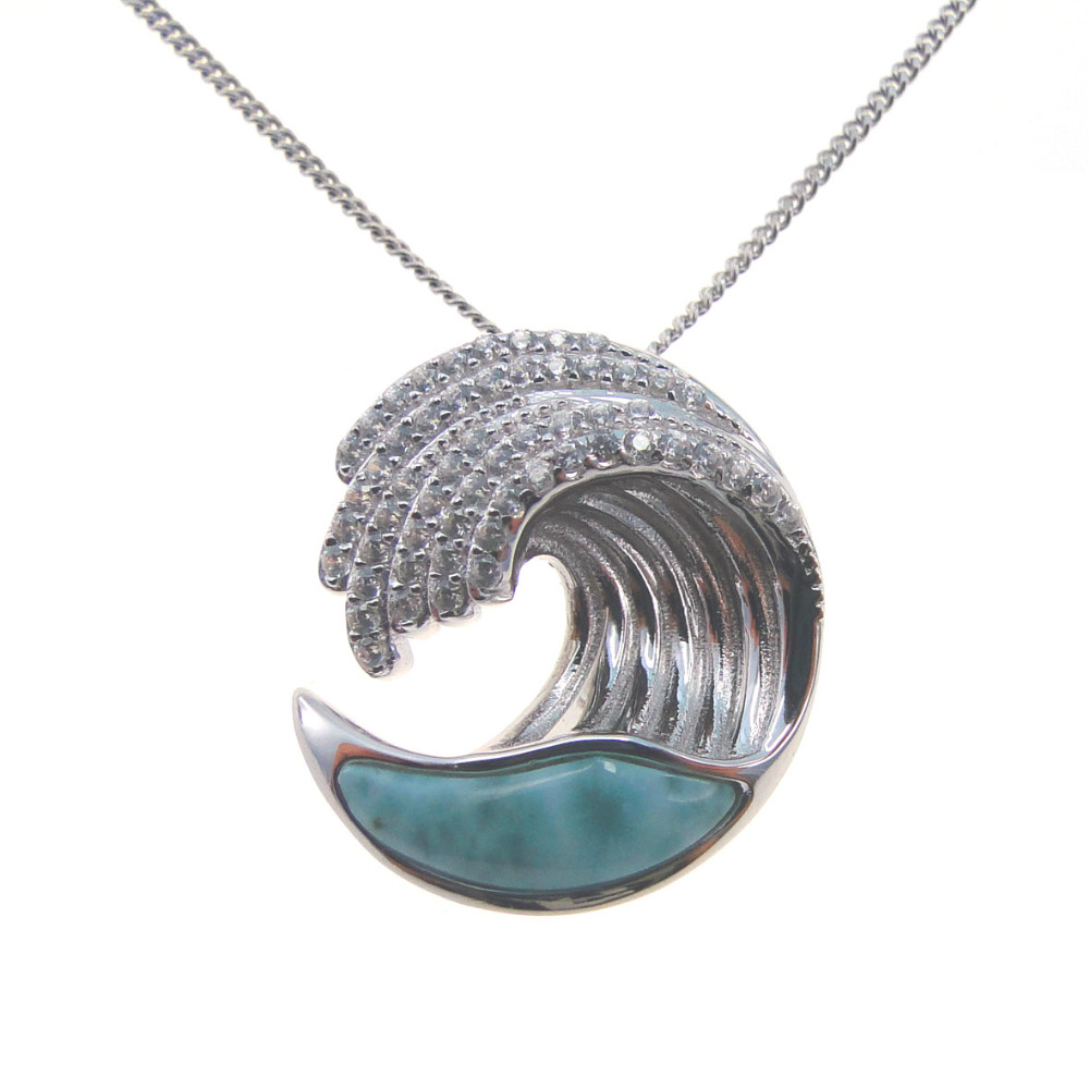 Fine Jewelry Natural Larimar Pendant Genuine Stone Waves Charm Pendant in Solid 925 Sterling Silver Christmas