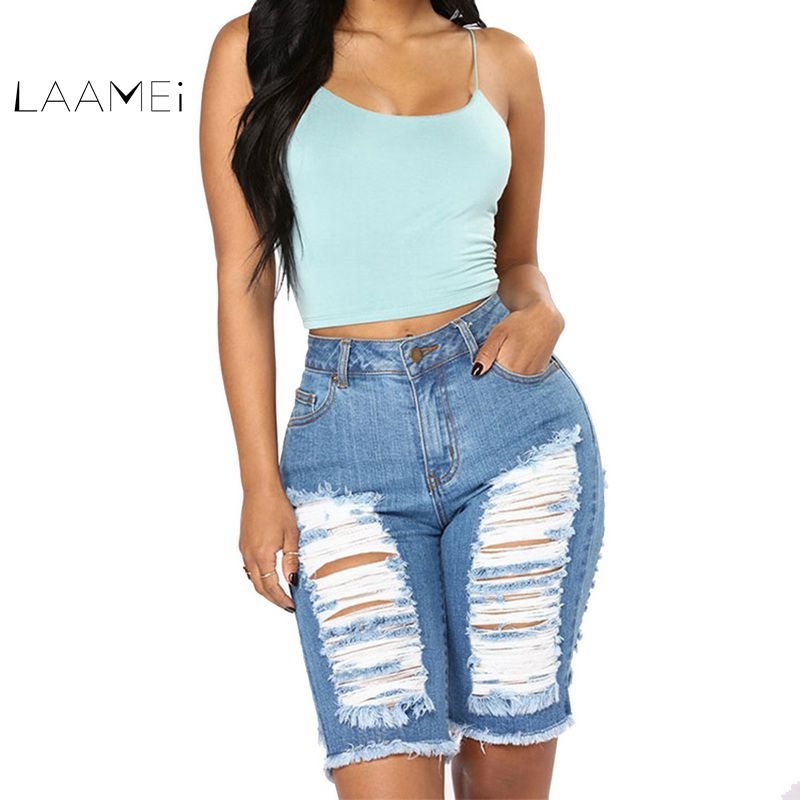 Laamei Fashion Jeans   Shorts   Women High Waisted Light Blue Hole   Shorts   2018 Summer Female Hiphop Streetwear Leg Hole Denim   Shorts