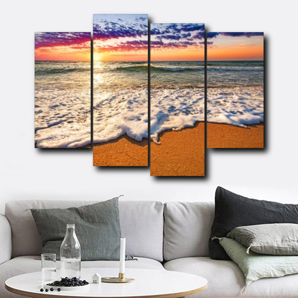 Laeacco Canvas Calligraphy Painting Wall Art 4 Panel Sea Wave Beach Sunrise Posters Prints Nordic Home Living Room Decoration