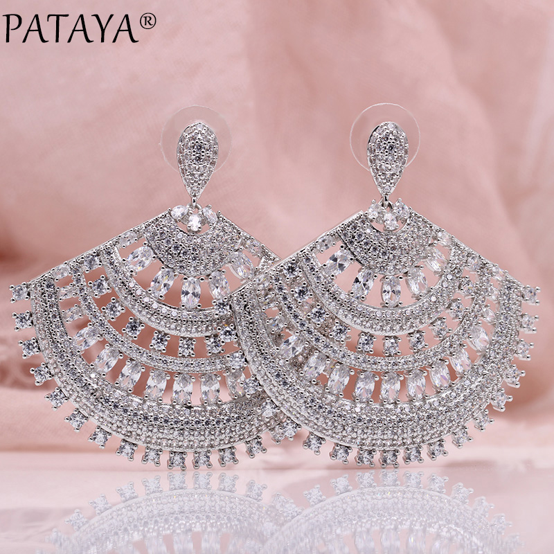PATAYA New Sector Hyperbole Big Earrings Women Fashion Hollow Luxury Jewelry White Gold Oval Round Natural Zircon Stud Earrings