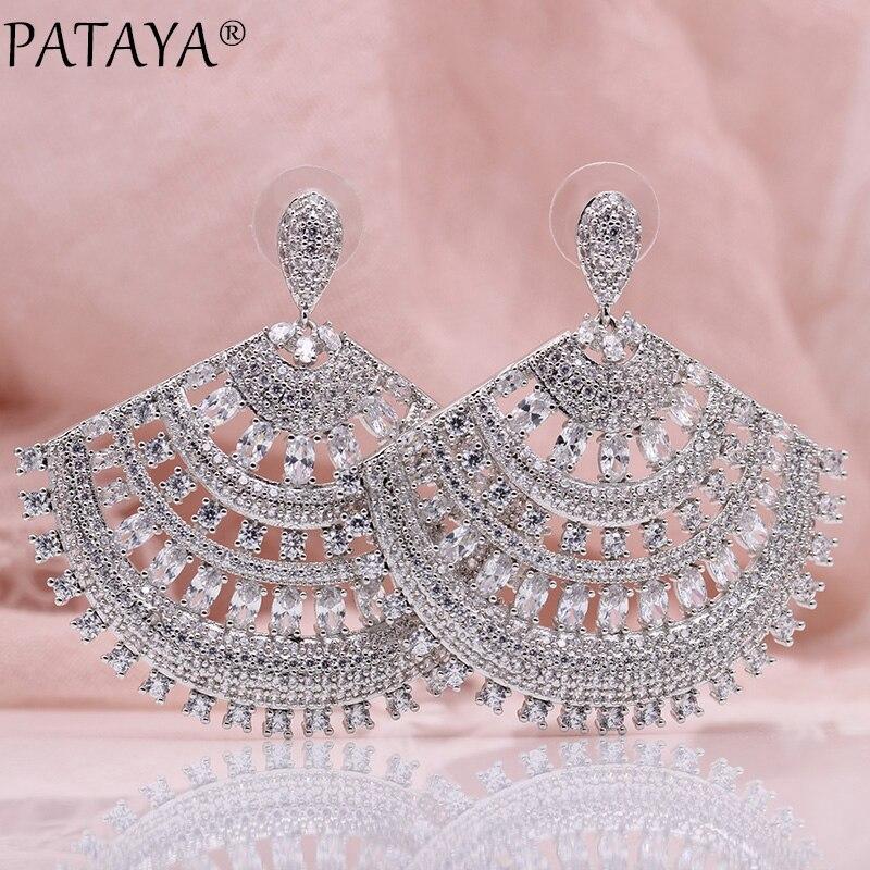 PATAYA nouveau secteur Hyperbole grandes boucles d'oreilles femmes mode creux bijoux de luxe en or blanc ovale rond naturel Zircon boucles d'oreilles