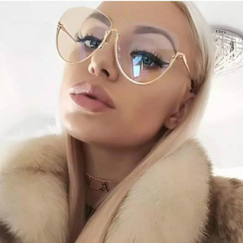 2018 Fashion Half Frame Round Glasses Women Transparent Vintage Large Eyeglasses Gold Frames Clear Lens Glasses Men Lady Eyewear image