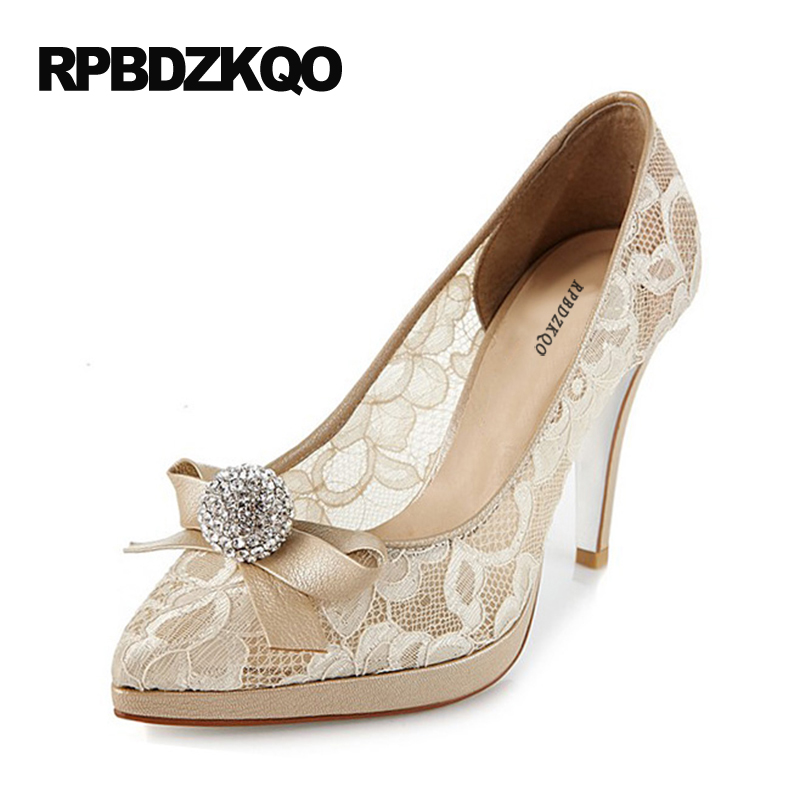 9 40 Ultra Shoes Stiletto Pumps Bride Pointed Toe Platform Big Size Bow Crystal Mesh Female Ivory Lace Bridal High Heels
