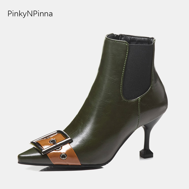Ladies fashion ankle boots runway front buckle pointed toe high heels Chelsea booties short plush winter fall office dress shoesLadies fashion ankle boots runway front buckle pointed toe high heels Chelsea booties short plush winter fall office dress shoes