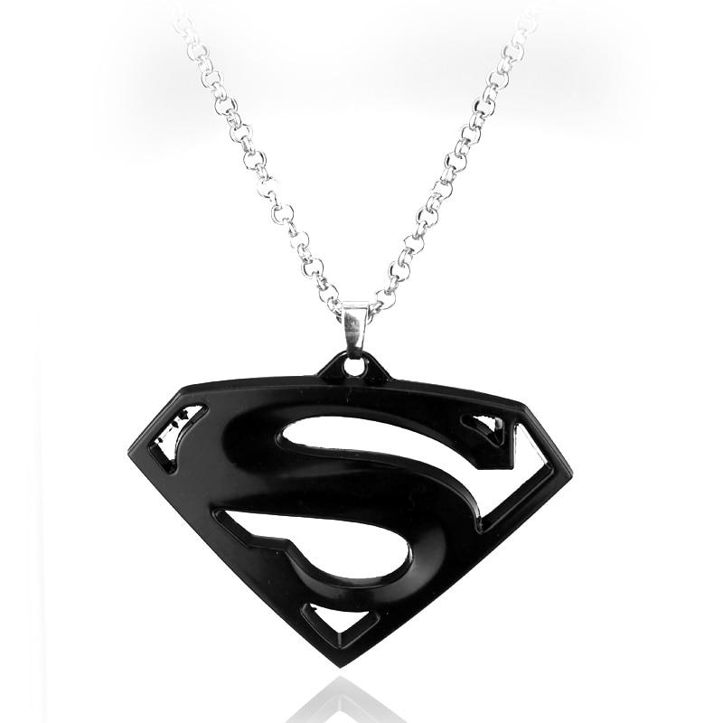 Closeout New Superman Necklace Superhero Superman Logo Black Silver