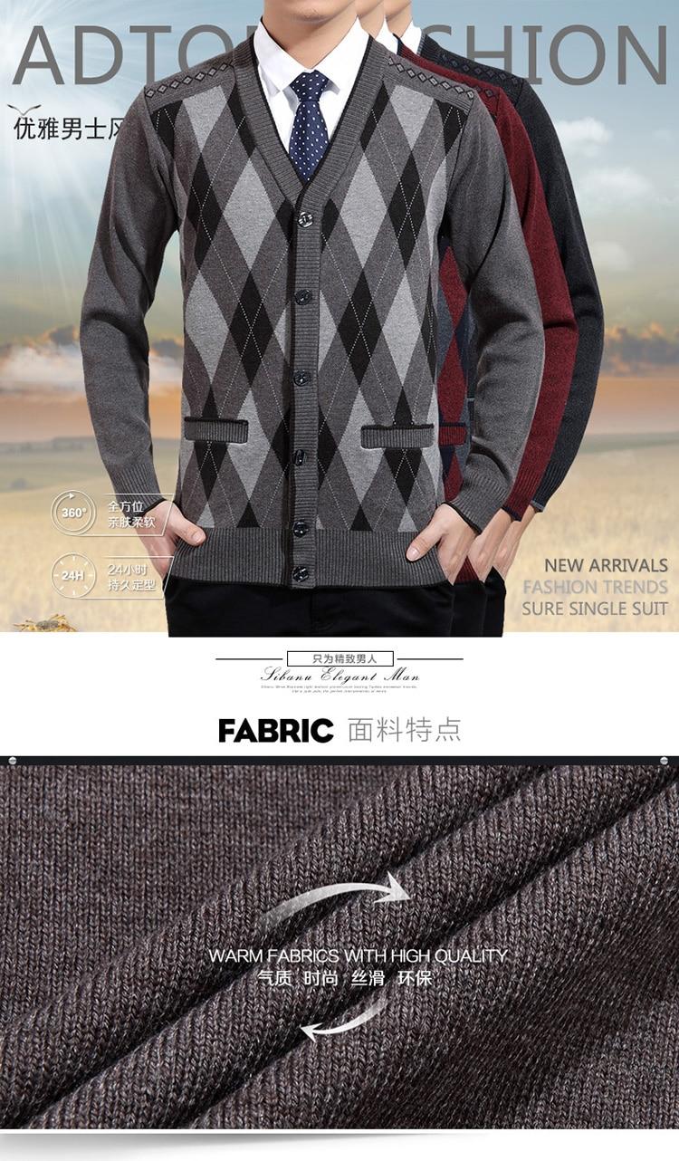 Man Woollen Cashmere Cardigan Sweaters Textured Knitted Sweater Men V-neck Cardigan Elegance Knitwear Business Casual Wear (2)