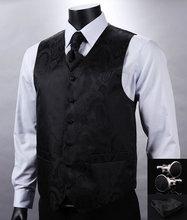 VE08 Schwarz Paisley Top Design Männer 100% Seide Weste Hochzeit Weste Einstecktuch Manschettenknöpfe Krawatte Set für Anzug Smoking