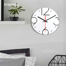 M.Sparkling brief wall clock round and square fashion bedroom 11 inch European style digital decorative clocks