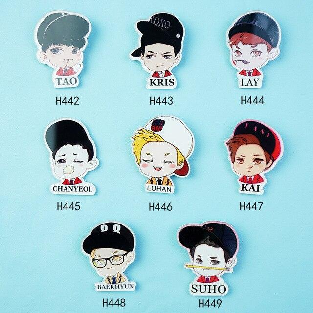 Aliexpress Com Buy Xz018 Cute Cartoon Acrylic Badge Cartoon Exo