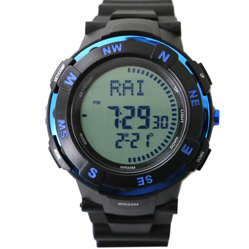 Prix pour Haute qualité hommes numérique montre boussole pour randonnée + homme led de natation 50 M preuve de l'eau montre + multiples temps zone montre livraison gratuite