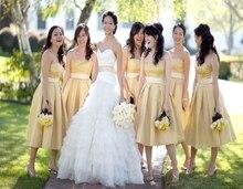 2016 Strapless salamon Short Bridesmaids Dresses With Sashes Tea Length Satin Floor Length vestido de festa curto Prom Dress