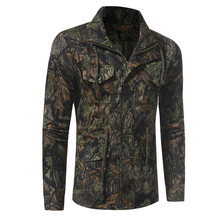 2017 New Autumn Mens Casual Military Tracksuit Lapel Neck Long Sleeve Buttons Zipper Camouflage Drawstring Waist  Jacket Coat