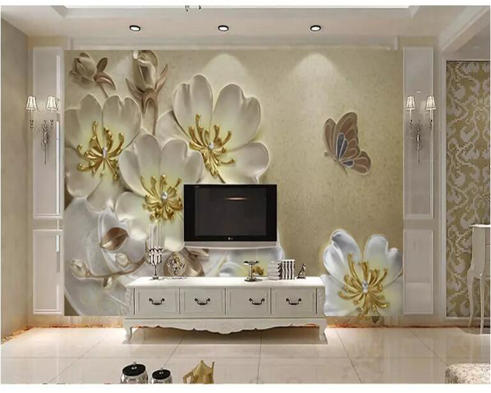 beibehang papel de parede Oil Painting European Emboss Plum Butterfly TV Background Wall wallpaper hudas beauty papier peint in Wallpapers from Home Improvement