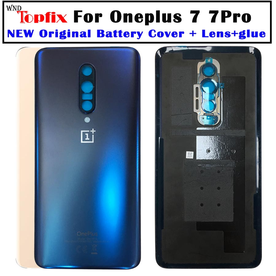 Original For OnePlus 7 Back Battery Cover Door Rear Glass For Oneplus 7 Pro Battery Cover 1+7 Housing Case With Camera Lens