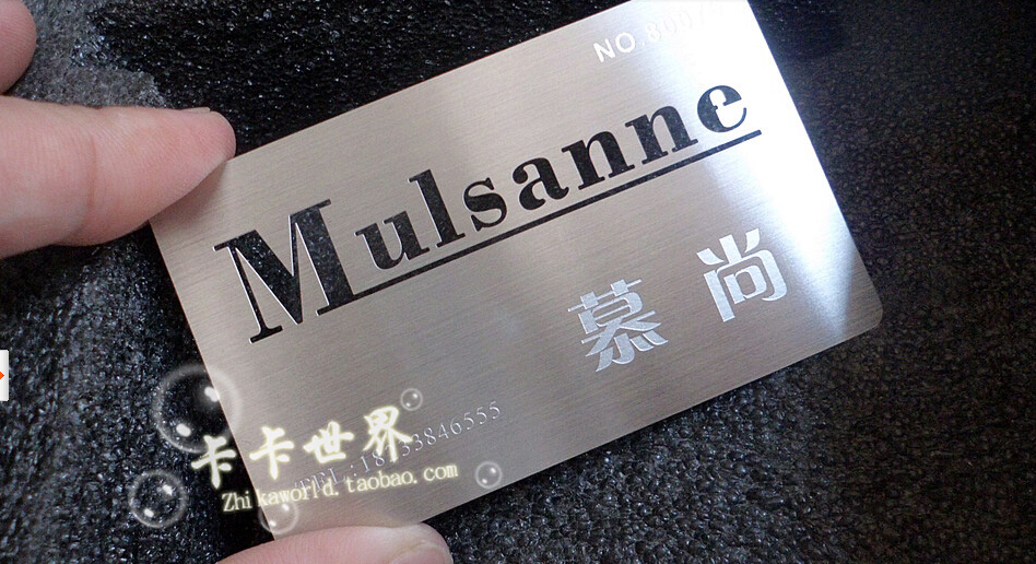 007 stainless steel metal cards 200pieces/lot, customized business ...