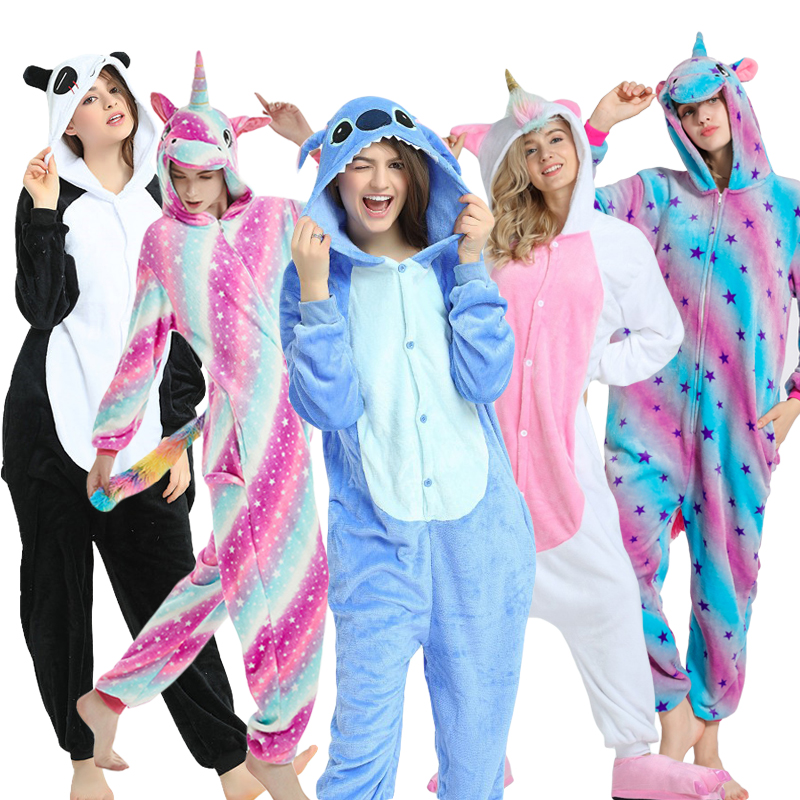 2019 Adult Onesie Pajamas Stich Panda Unicorn Sleepwear Cartoon Anime Pyjamas Women Men Unicornio Pijama Winter Jumpsuit Costume