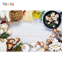 Yeele Wooden Board Mushroom Fungus Cutting Board Food Kitchen Photography Background Photographic Backdrops for Photo Studio
