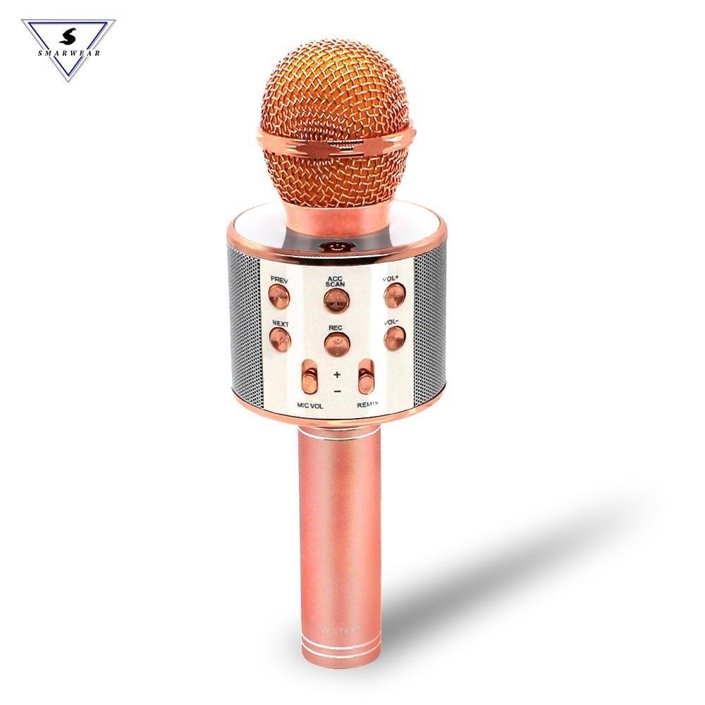 WS858 Micrófono Karaoke Inalámbrico Bluetooth Portátil Mini KTV Hogar para Música y Canto Altavoz Selfie Móvil PC