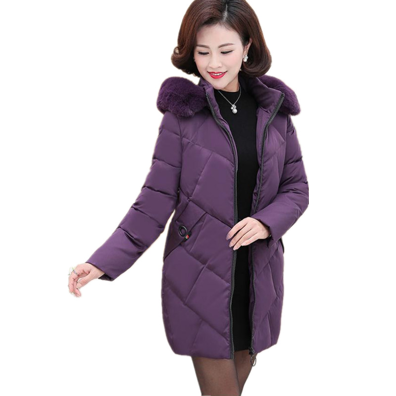 Long Sleeve New 2019 Women Medium-Long   Parkas   Mother Winter Hooded Soft Fur Collar Plus Size 5XL Slim Padded Winter Coats CQ2284