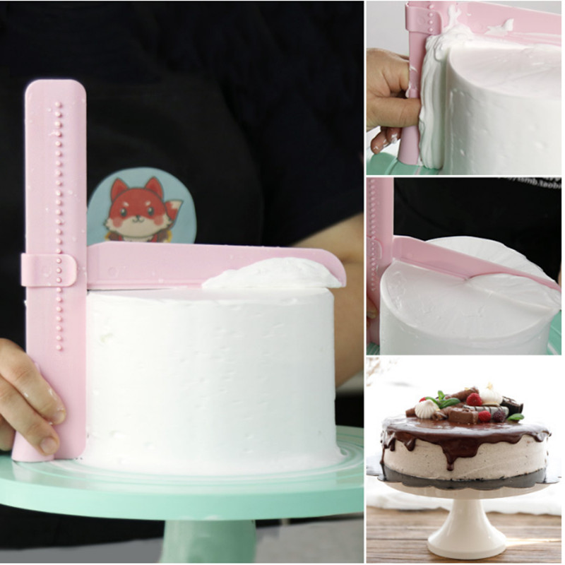 Home Kicthen Adjustable Cake Smoother Tools Decorating Fondant Sugarcraft Icing <font><b>Mold</b></font> Cake Scraper Tool image