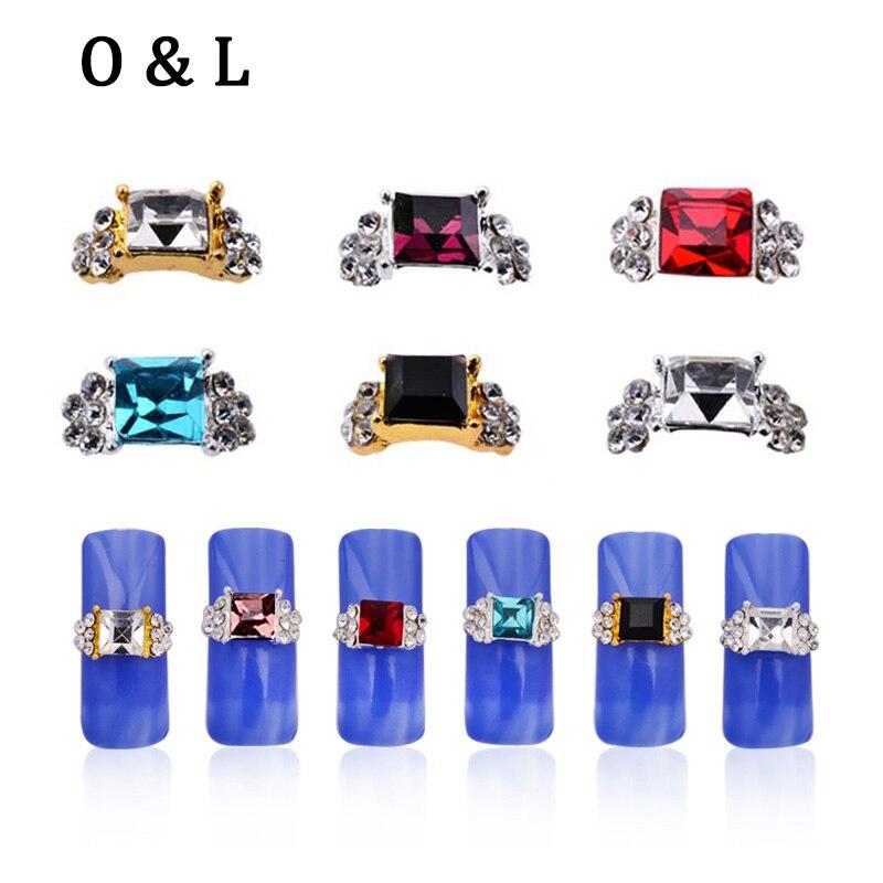 10pcs Square Diamond Crystal Rhinestone 3d Alloy font b Nail b font Art Decorations Gold Silver