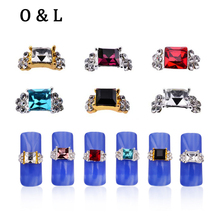 10pcs Square Diamond Crystal Rhinestone 3d Alloy Nail Art Decorations Gold Silver Charm Glitter Slice DIY Beauty Salon Nail Tool