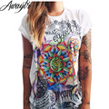 Awaytr Women T Shirt 2017 New Harajuku Short-Sleeved Tops High Quality Casual Print Graphic Tees Women Designer Clothing XL