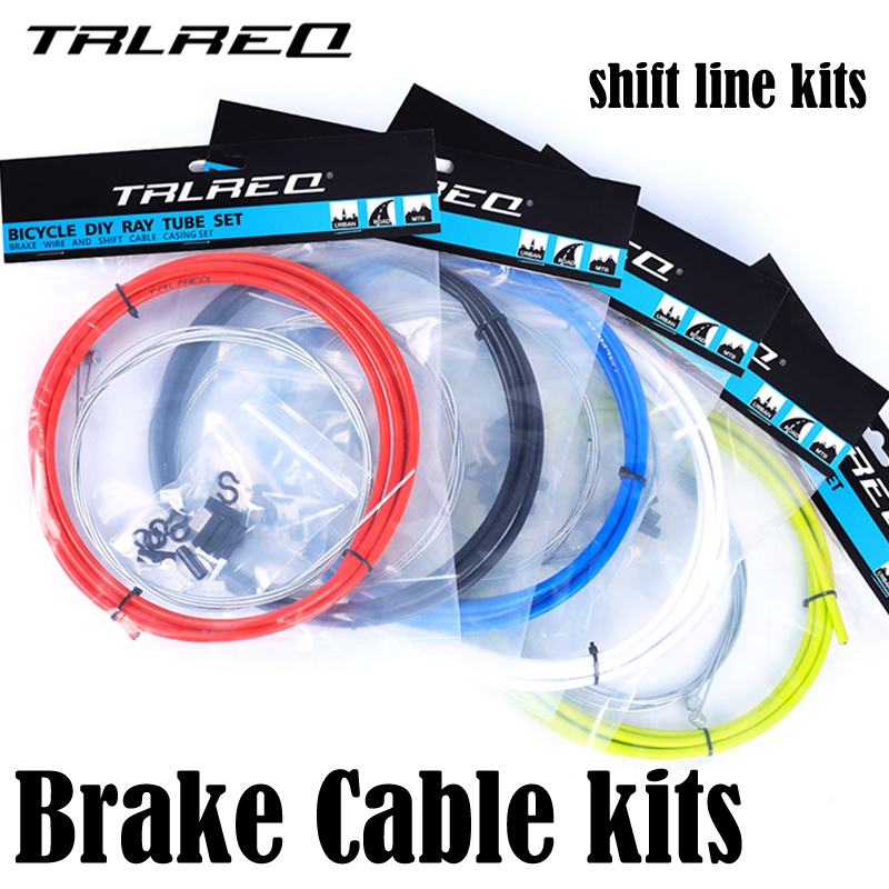 TRLREQ 4mm Shift Gear Derailleur kits MTB Bike Brake Line Tube Kits 5mm Mountain Road Bicycle Brake Cable Cycling Accessories high quality aluminium alloy tube v brake noodles cable guide pipe plastic boots bicycle cycling protect the brake line 113mm
