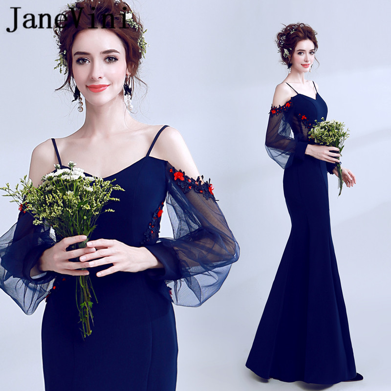 JaneVini Mermaid Sexy Long Bridesmaid Dresses Spaghetti Straps Long Sleeve Lace Applique Pearls Illusion Tulle Formal